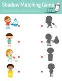 Ταιριάζοντας με παιχνίδι σκιών για τα παιδιά, διανυσματική απεικόνιση εκπαίδευσης Στοκ Φωτογραφία