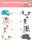 Ταιριάζοντας με παιχνίδι σκιών για τα παιδιά, διανυσματική απεικόνιση εκπαίδευσης Στοκ Φωτογραφίες