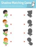 Ταιριάζοντας με παιχνίδι σκιών για τα παιδιά, οπτικό παιχνίδι για το παιδί Συνδέστε την εικόνα σημείων, διανυσματική απεικόνιση ε Στοκ Φωτογραφίες