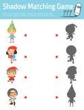 Ταιριάζοντας με παιχνίδι σκιών για τα παιδιά, οπτικό παιχνίδι για το παιδί Συνδέστε την εικόνα σημείων, διανυσματική απεικόνιση ε Στοκ Φωτογραφία