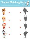 Ταιριάζοντας με παιχνίδι σκιών για τα παιδιά, οπτικό παιχνίδι για το παιδί Συνδέστε την εικόνα σημείων, διανυσματική απεικόνιση ε Στοκ Εικόνα