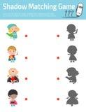 Ταιριάζοντας με παιχνίδι σκιών για τα παιδιά, οπτικό παιχνίδι για το παιδί Συνδέστε την εικόνα σημείων, διανυσματική απεικόνιση ε Στοκ Εικόνες