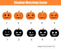 Ταιριάζοντας με παιχνίδι σκιών, θέμα αποκριών με τις κολοκύθες διανυσματική απεικόνιση