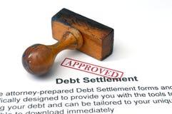 Τακτοποίηση χρέους - εγκεκριμένη Στοκ Εικόνα