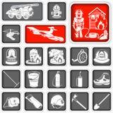 Τακτοποιημένα πυροσβέστης εικονίδια ελεύθερη απεικόνιση δικαιώματος