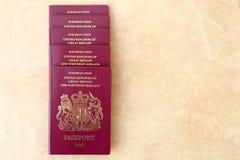 Τακτοποιημένος σωρός πέντε της βρετανικής Ηνωμένο Βασίλειο Ευρωπαϊκής Ένωσης Biometri Στοκ φωτογραφία με δικαίωμα ελεύθερης χρήσης