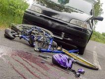 Τακτοποιημένος τόπος του ατυχήματος ποδηλάτων Στοκ φωτογραφία με δικαίωμα ελεύθερης χρήσης