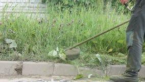 Τακτοποιώντας χλόη ατόμων σε έναν κήπο που χρησιμοποιεί έναν χορτοκόπτη απόθεμα βίντεο