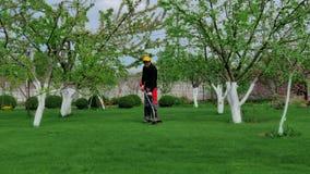 Τακτοποιώντας χλόη ατόμων στον κήπο που χρησιμοποιεί το θεριστή απόθεμα βίντεο