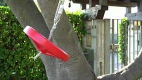 Ταλάντευση στο στρογγυλό κόκκινο χρωματισμένο φύσηγμα μορφής στον αέρα ως σύνολα ήλιων απόθεμα βίντεο