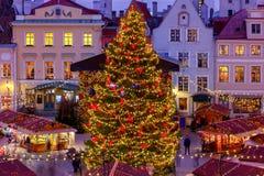 Ταλίν Τετράγωνο Δημαρχείων στα Χριστούγεννα στοκ εικόνες με δικαίωμα ελεύθερης χρήσης