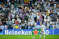 ΤΑΛΙΝ, ΕΣΘΟΝΙΑ - 15 Αυγούστου 2018: Ανεμιστήρες της Real Madrid στο s Στοκ Εικόνες