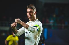 ΤΑΛΙΝ, ΕΣΘΟΝΙΑ - 15 Αυγούστου 2018: Sergio Ramos κατά τη διάρκεια του πτερυγίου στοκ φωτογραφίες