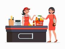 Ταμίας και αγοραστής στη διανυσματική επίπεδη απεικόνιση υπεραγορών που απομονώνεται στο άσπρο υπόβαθρο Αγοράζοντας προϊόντα γυνα διανυσματική απεικόνιση