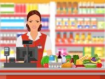 Ταμίας παντοπωλείων στην εργασία απεικόνιση αποθεμάτων