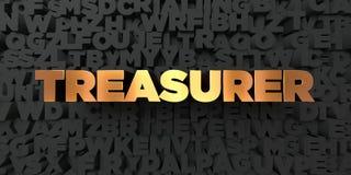 Ταμίας - χρυσό κείμενο στο μαύρο υπόβαθρο - τρισδιάστατο δικαίωμα ελεύθερη εικόνα αποθεμάτων απεικόνιση αποθεμάτων