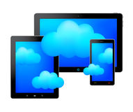 Ταμπλέτες και σύννεφα διανυσματική απεικόνιση