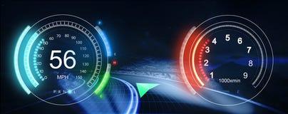 Ταμπλό HUD Φουτουριστικό ενδιάμεσο με τον χρήστη HUD και Infographic ele στοκ φωτογραφίες