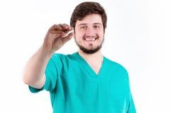 Ταμπλέτα εκμετάλλευσης ατόμων γιατρών στο άσπρο υπόβαθρο Στοκ εικόνα με δικαίωμα ελεύθερης χρήσης