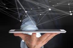 Ταμπλέτα εκμετάλλευσης χεριών με την οθόνη και το δίκτυο λειτουργικών συστημάτων con Στοκ φωτογραφία με δικαίωμα ελεύθερης χρήσης