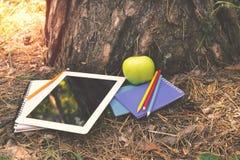Ταμπλέτα, σημειωματάρια, μήλο, χρωματισμένα μολύβια κάτω από ένα δέντρο στοκ εικόνα
