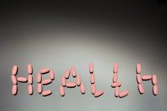Ταμπλέτες επιγραφής υγείας Στοκ Φωτογραφίες