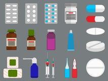 Ταμπλέτες και επίπεδα εικονίδια ιατρικής καθορισμένες απεικόνιση αποθεμάτων