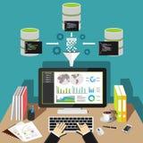Ταμπλό analytics επιχειρηματικής κατασκοπείας Έννοια ανάσυρσης δεδομένων απεικόνιση αποθεμάτων
