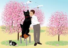 Τανγκό με μια μαύρη γάτα Στοκ εικόνα με δικαίωμα ελεύθερης χρήσης