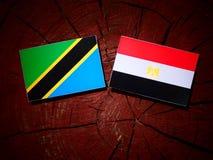 Τανζανική σημαία με την αιγυπτιακή σημαία σε ένα κολόβωμα δέντρων Στοκ Φωτογραφίες