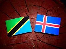 Τανζανική σημαία με την ισλανδική σημαία σε ένα κολόβωμα δέντρων που απομονώνεται Στοκ φωτογραφίες με δικαίωμα ελεύθερης χρήσης