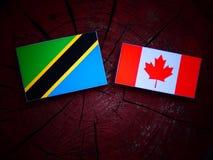 Τανζανική σημαία με την καναδική σημαία σε ένα κολόβωμα δέντρων που απομονώνεται Στοκ Εικόνες