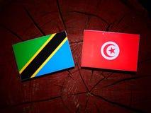 Τανζανική σημαία με την τυνησιακή σημαία σε ένα κολόβωμα δέντρων που απομονώνεται Στοκ Εικόνα