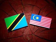 Τανζανική σημαία με τη μαλαισιανή σημαία σε ένα κολόβωμα δέντρων που απομονώνεται Στοκ φωτογραφίες με δικαίωμα ελεύθερης χρήσης