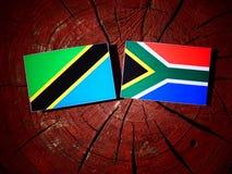 Τανζανική σημαία με τη νοτιοαφρικανική σημαία σε ένα κολόβωμα δέντρων που απομονώνεται Στοκ Εικόνα