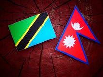 Τανζανική σημαία με τη σημαία Nepali σε ένα κολόβωμα δέντρων Στοκ εικόνα με δικαίωμα ελεύθερης χρήσης