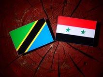 Τανζανική σημαία με τη συριακή σημαία σε ένα κολόβωμα δέντρων Στοκ εικόνα με δικαίωμα ελεύθερης χρήσης