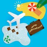 Ταξίδια στους θερμούς προορισμούς για τις διακοπές με το αεροπλάνο διανυσματική απεικόνιση