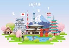 Ταξίδι άνοιξη της Ιαπωνίας infographic Στοκ Εικόνα