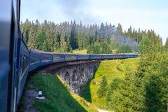 Ταξίδι, άποψη υπολοίπου από το παράθυρο τραίνων στο γύρισμα του τραίνου, φύση και δέντρα Οριζόντιο πλαίσιο Στοκ Εικόνες
