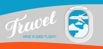 Ταξίδι Έχετε μια καλή πτήση Απεικόνιση του φωτιστικού αεροπλάνων Στοκ φωτογραφία με δικαίωμα ελεύθερης χρήσης