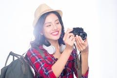Ταξίδι γυναικών Νέος όμορφος ασιατικός ταξιδιώτης γυναικών που παίρνει pictur Στοκ φωτογραφίες με δικαίωμα ελεύθερης χρήσης