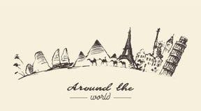 Ταξίδι γύρω από την απεικόνιση παγκόσμιας έννοιας που σύρεται Στοκ Εικόνα