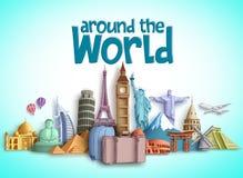 Ταξίδι γύρω από το σχέδιο παγκόσμιων διανυσματικό εμβλημάτων με τους προορισμούς ταξιδιού και τα διάσημα ορόσημα τουριστών απεικόνιση αποθεμάτων