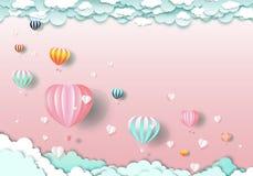 Ταξίδι ευχαριστημένο από τα μπαλόνια και την καρδιά στο σύννεφο στοκ φωτογραφία με δικαίωμα ελεύθερης χρήσης
