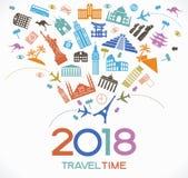 Ταξίδι και υπόβαθρο σχεδίου καλής χρονιάς 2018 με τα εικονίδια και τα ορόσημα τουρισμού απεικόνιση αποθεμάτων