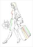 ταξίδι κοριτσιών αποσκευών διανυσματική απεικόνιση