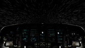 Ταξίδι μέσα σε ένα πιλοτήριο διαστημοπλοίων που κινείται στην ελαφριά ταχύτητα διανυσματική απεικόνιση