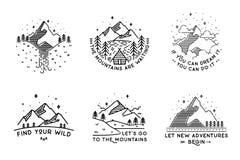 Ταξίδι που τίθεται με τα εμβλήματα Θερινές διανυσματικές απεικονίσεις Σχέδιο Στοκ φωτογραφίες με δικαίωμα ελεύθερης χρήσης