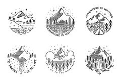 Ταξίδι που τίθεται με τα εμβλήματα Θερινές διανυσματικές απεικονίσεις Σχέδιο Στοκ Φωτογραφία
